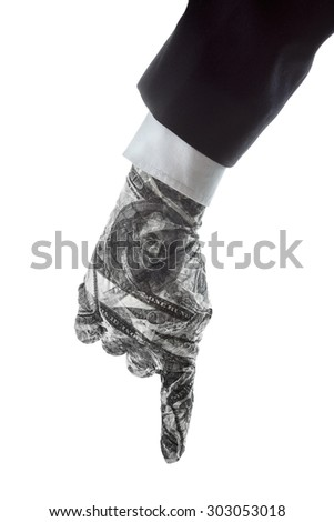 Hand gestures show Down the direction of financial success - stock photo
