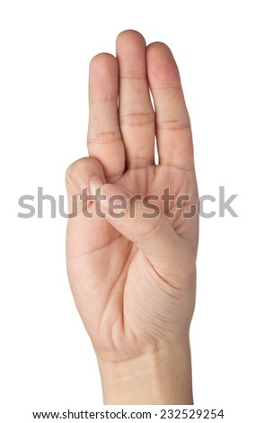Hand gesturing a three finger salute isolated on white background  - stock photo