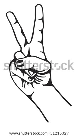 Hand gesturing symbol of peace. Vector version also available in my portfolio.