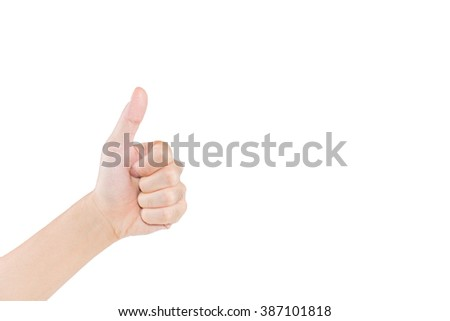 Hand gesturing thumb a lift on white background