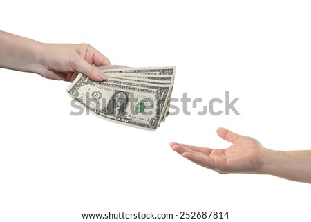 Hand give money dollars on white background  - stock photo
