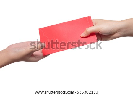 Hand give money in red envelope to someone for Chinese New Year on white background
