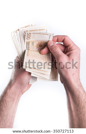 Hand give or counting money on white background