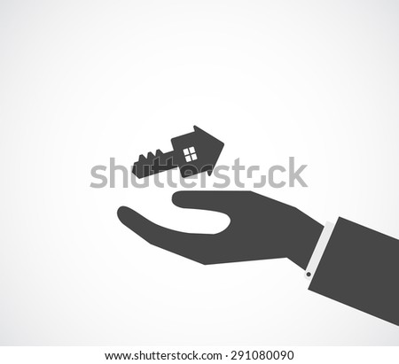 hand gives key house shape - conceptual background - stock photo