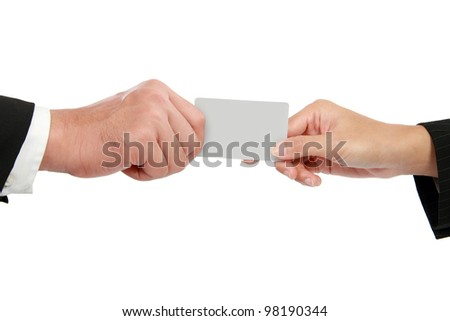 hand giving a business card isolated over white background