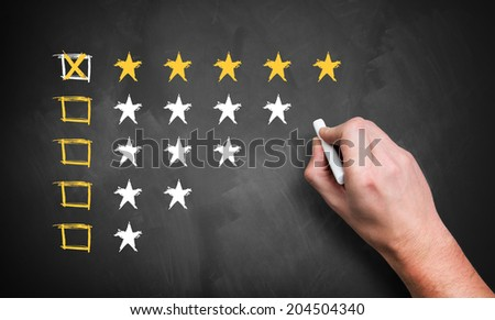 hand giving a five star rating