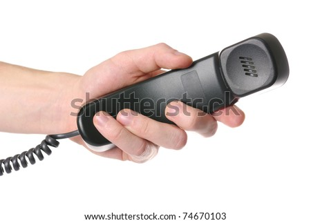 hand giving a phone tube - stock photo