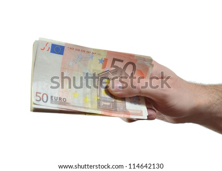 Hand giving, handing over or donating stack of 50 euro bills - stock photo
