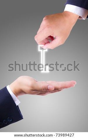 hand giving key
