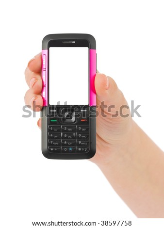 Hand giving mobile phone isolated on white background