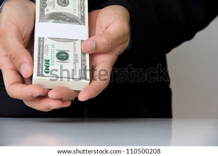 Hand giving money concept