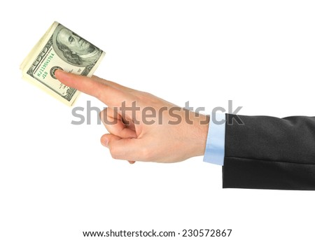 Hand giving money isolated on white background