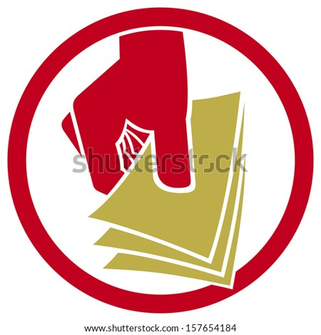 hand giving money symbol (hand with money icon, hand holding banknotes sign, money in the hand button) - stock photo