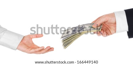 Hand giving money to another hand isolated on white - stock photo