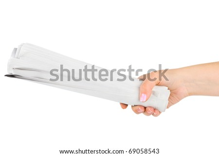 Hand giving newspapers isolated on white background - stock photo
