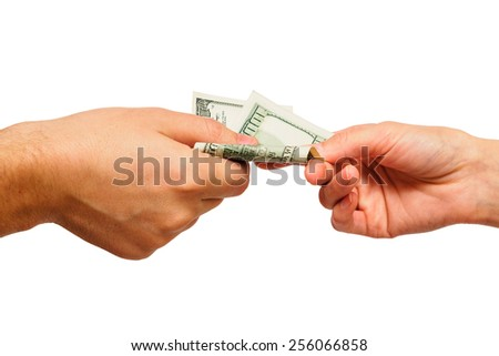Hand giving one hundred dollars to other person - stock photo