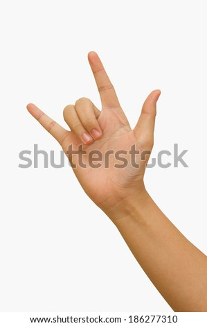 hand giving the Rock and Roll sign - stock photo