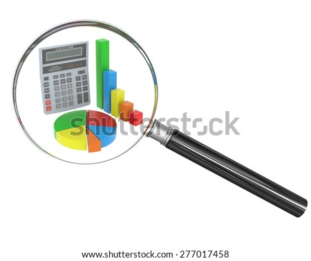 Hand glass with colorful graphical chart and calculator on isolated white background