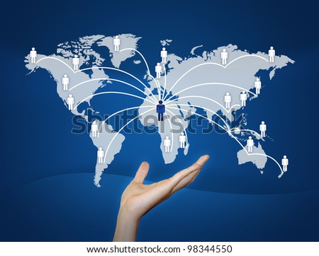 hand Global Communication.connected World concept. - stock photo