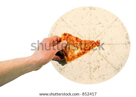 Hand grabbing the last piece of pizza - stock photo