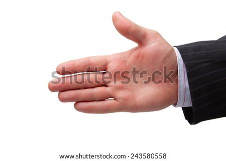hand greeting handshake open palm - stock photo