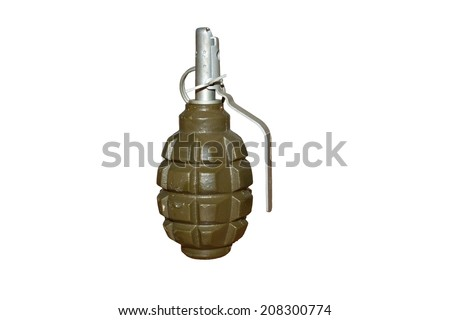 hand grenade isolated on a white background - stock photo