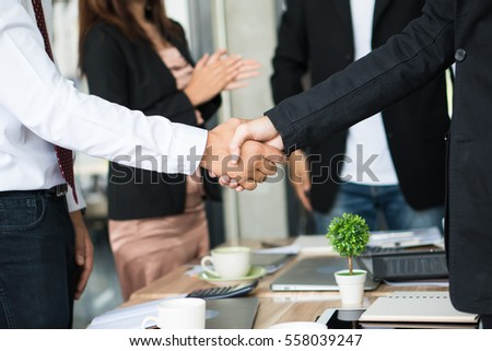 Hand group shank hand Teamwork Join Hands Partnership Third party, Business clasping hand Concept.