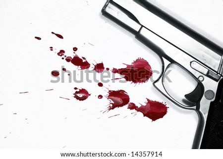 Hand gun and blood splatter. Murder Scene - stock photo