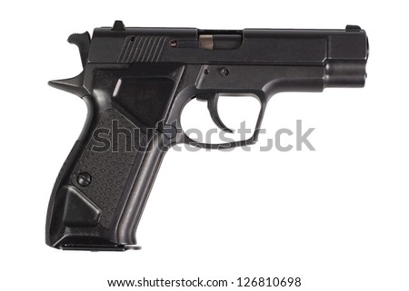 hand gun isolated on white background - stock photo
