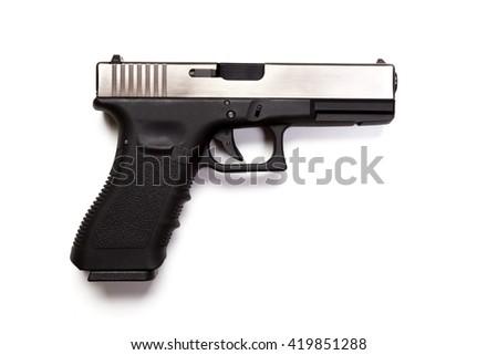 hand gun isolated on white background - stock photo