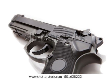 Hand gun with no logos or serial numbers - studio shot on white