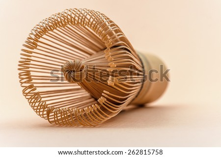 Hand Held Bamboo Tea Whisk for Matcha Tea - stock photo