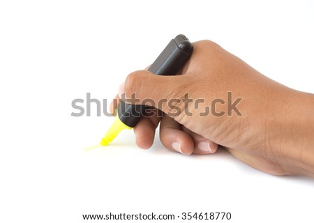 Hand highlighters on white background - stock photo