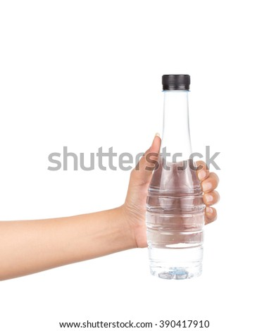 Hand hold a bottle of water isolated on white background - stock photo