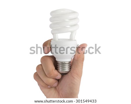 Hand hold a light bulb on white background