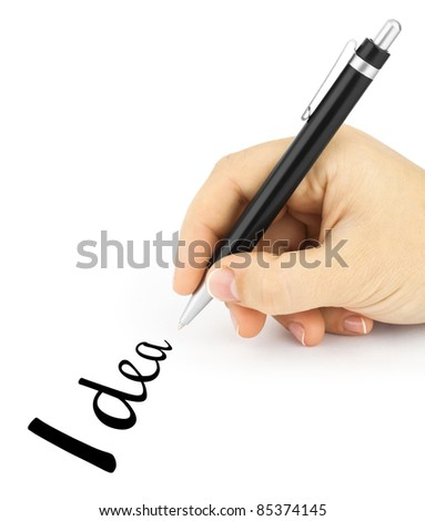 "Hand hold a pen writing word ""idea"" on white background"