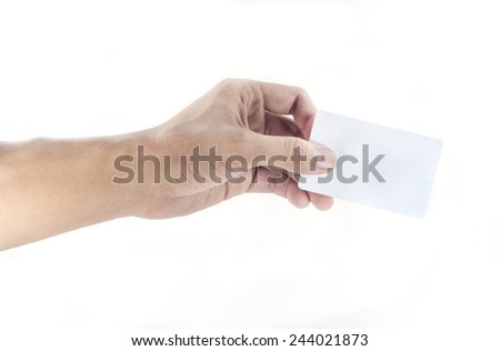 hand hold a plastic card