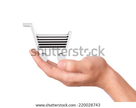 hand hold a shopping cart on white background
