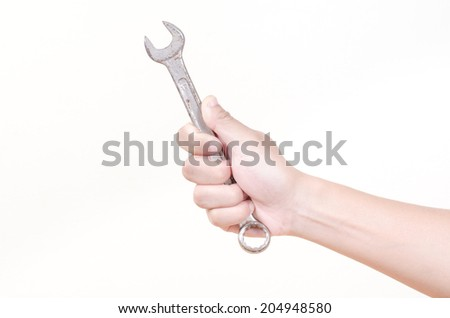 Hand hold adjustable wrench on white background