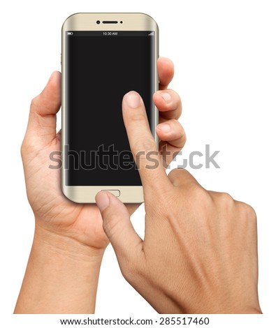 Hand hold and Touch on Curve Screen Smartphone on white background - stock photo