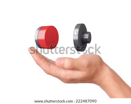 hand hold Battery icon with a low charge on white background - stock photo