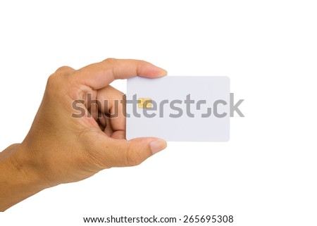 Hand hold black credit card for your customise on white background. - stock photo