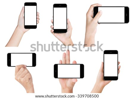 hand hold black modern smart phone show screen display isolated set - stock photo