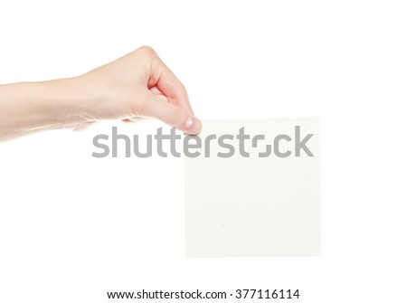 Hand hold blank business card