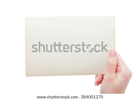 Hand hold blank business card - stock photo