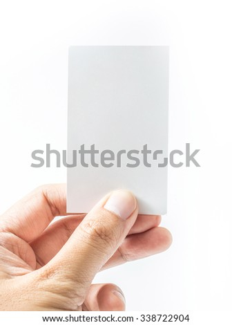 Hand hold blank business card on white background - stock photo