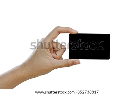 Hand hold blank business card or credit card