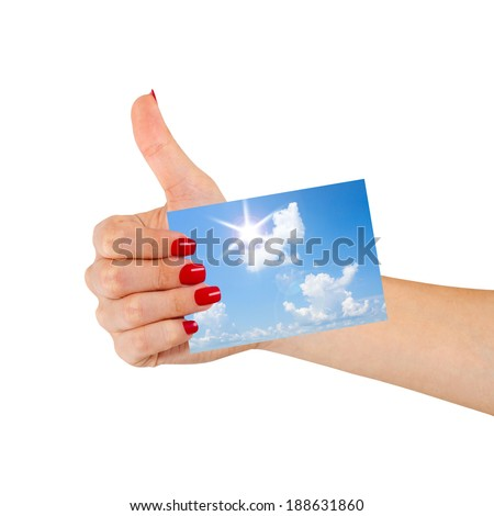 Hand hold blank business card, showing thumbs up, okay  - stock photo