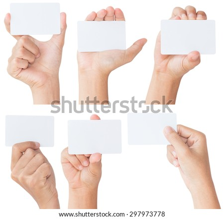 hand hold blank white card isolated with clipping path - stock photo