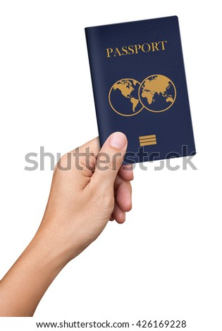 Hand hold blue Passport isolated on white background - stock photo